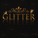 glitter gold logo black with particles